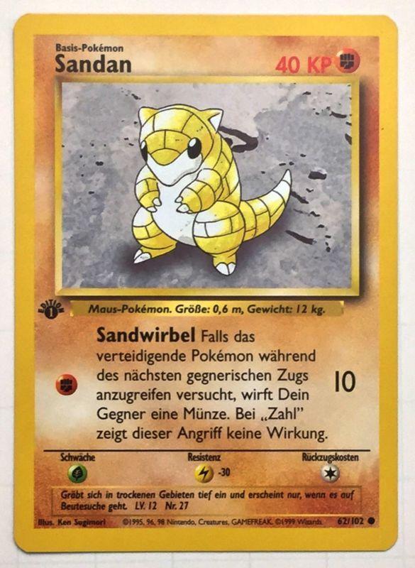 Pokemon Rot Karte.1st Edition Sadan Sandshrew Rare 62 102 German Pokemon Pokemon