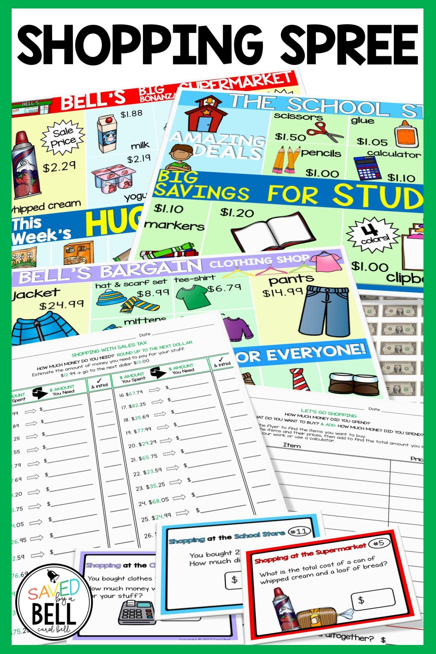 Shopping Worksheets and Task Card Bundle #mathintherealworld This Shopping Worksheets and Task Card Bundle includes differentiated math products perfect for 1st, 2nd, 3rd, 4th, 5th, 6th, 7th, 8th, 9th, 10th, 11th, or 12th grade special education classrooms. This real world math bundle includes Shopping Worksheets, Sales Tax Worksheets, Free Shopping Anchor Charts, Shopping with No Regrouping, & Money Word Problems Shopping Task Cards. Great to use for additional skills practice, math centers, an #mathintherealworld