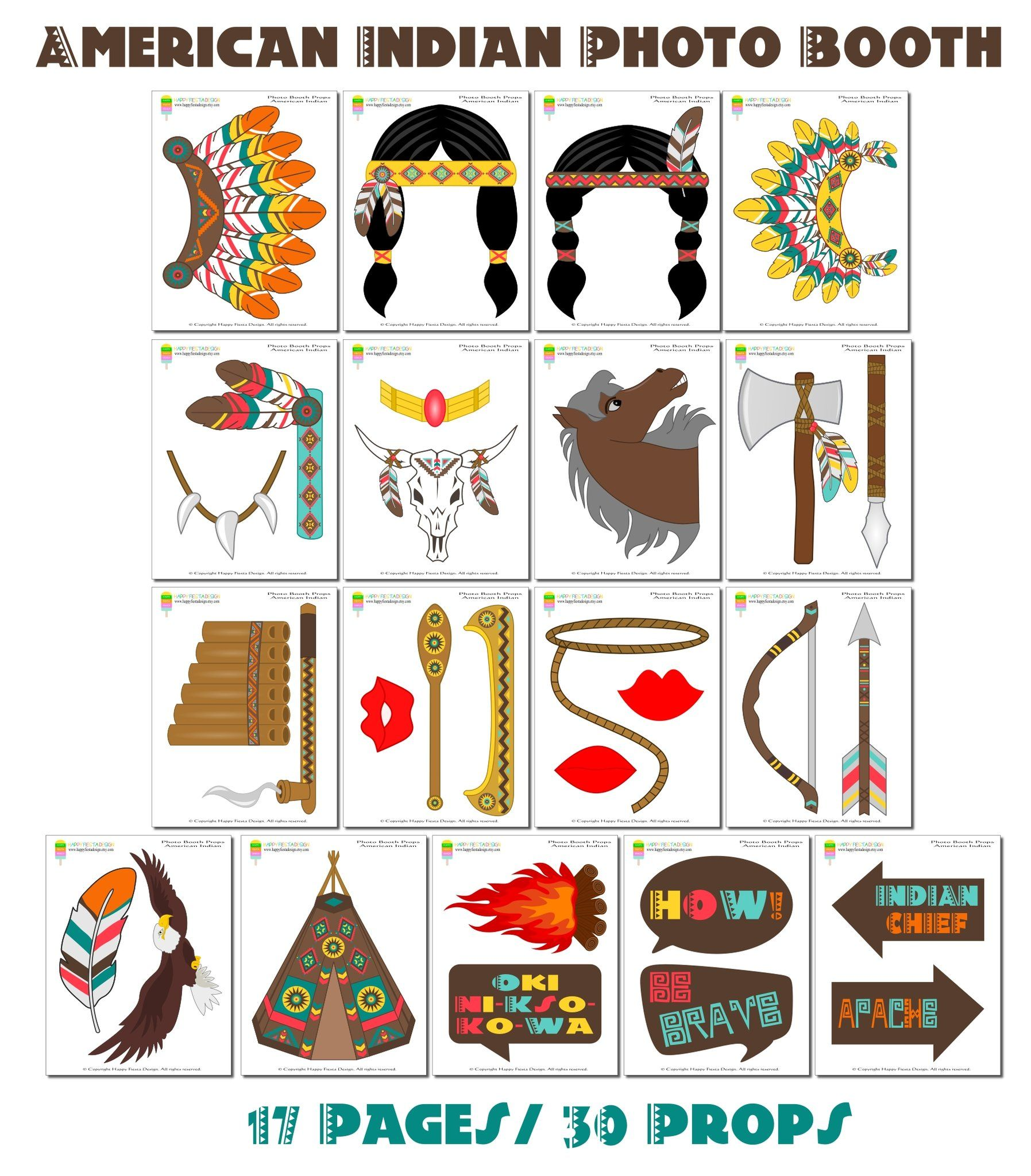 Printable American Indian Photo Booth Props
