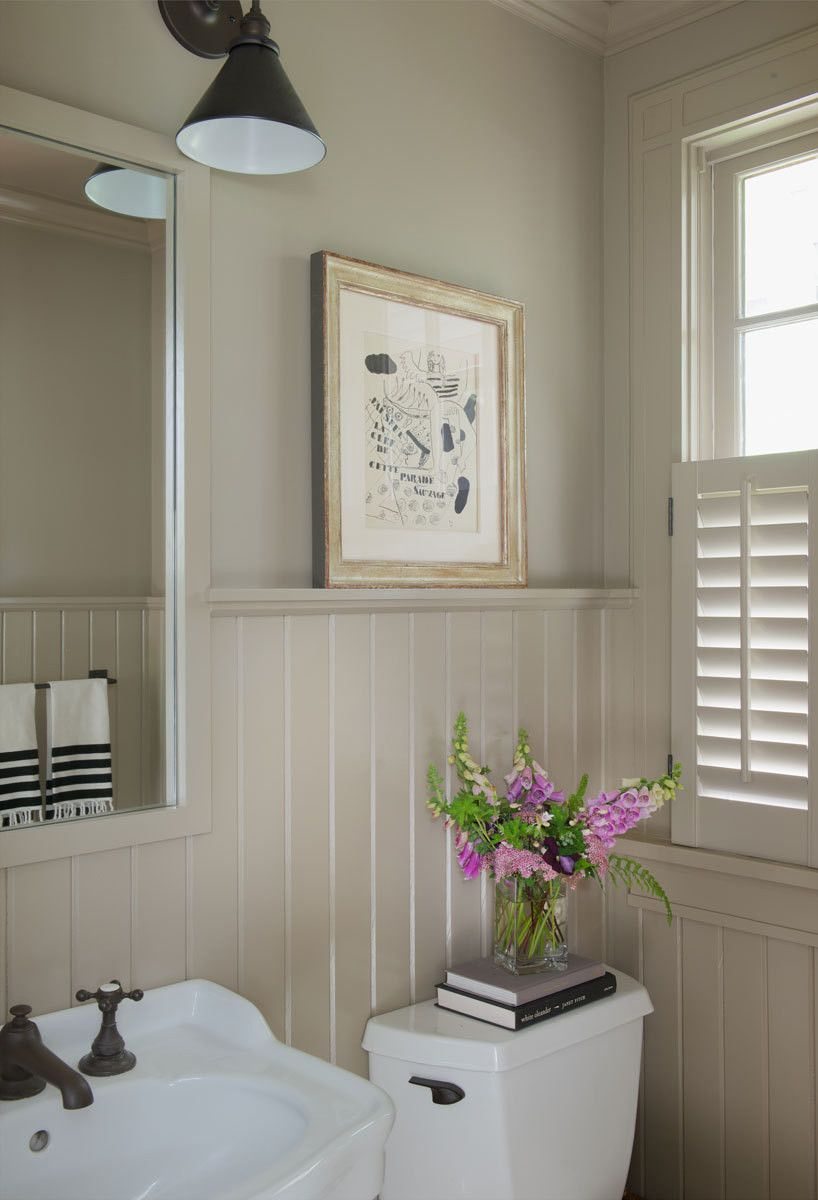 A Storybook Cottage In Connecticut Wainscoting Shelves And Powder Room
