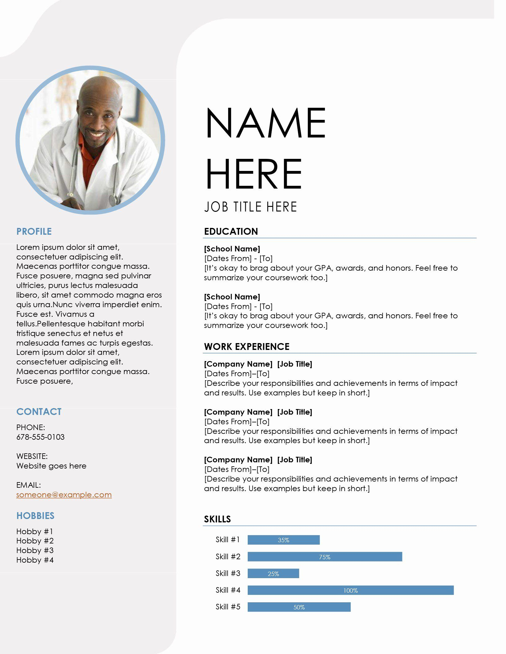 25 Resume Template with Picture in 2020 Resume template