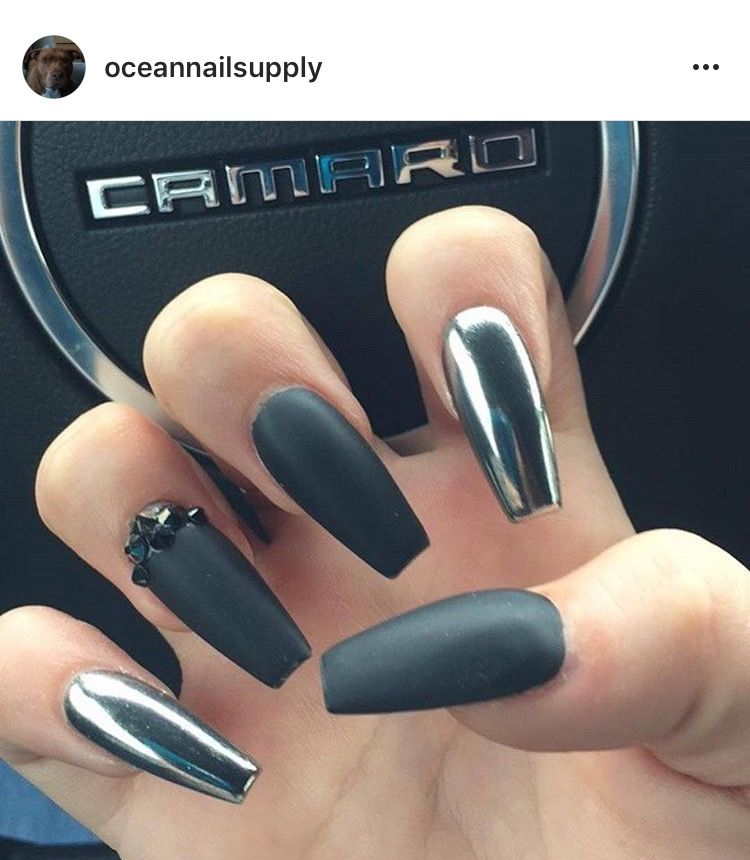 Chrome And Matte Black Nails Design With Rhinestones Rhinestone Nails Coffin Nails Matte