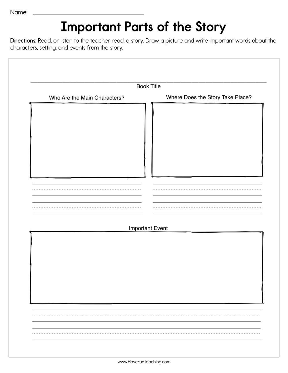 Important Parts Of The Story Worksheet In 2020 Have Fun Teaching Reading Graphic Organizers Teaching Story Elements