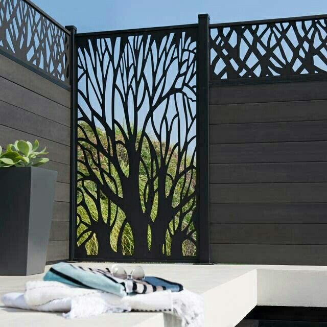 Vertical Patio Sun Shade In Tree Pattern Fence Design Garden Design Screen Design