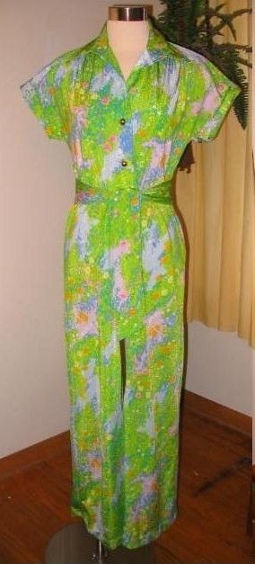 4b7b558d3919 Vintage hawaiian jumpsuit 70s Mod Sears Hawaiian Fashions wide leg jumpsuit  palazzo pants b38 size 10 m l.  35.00