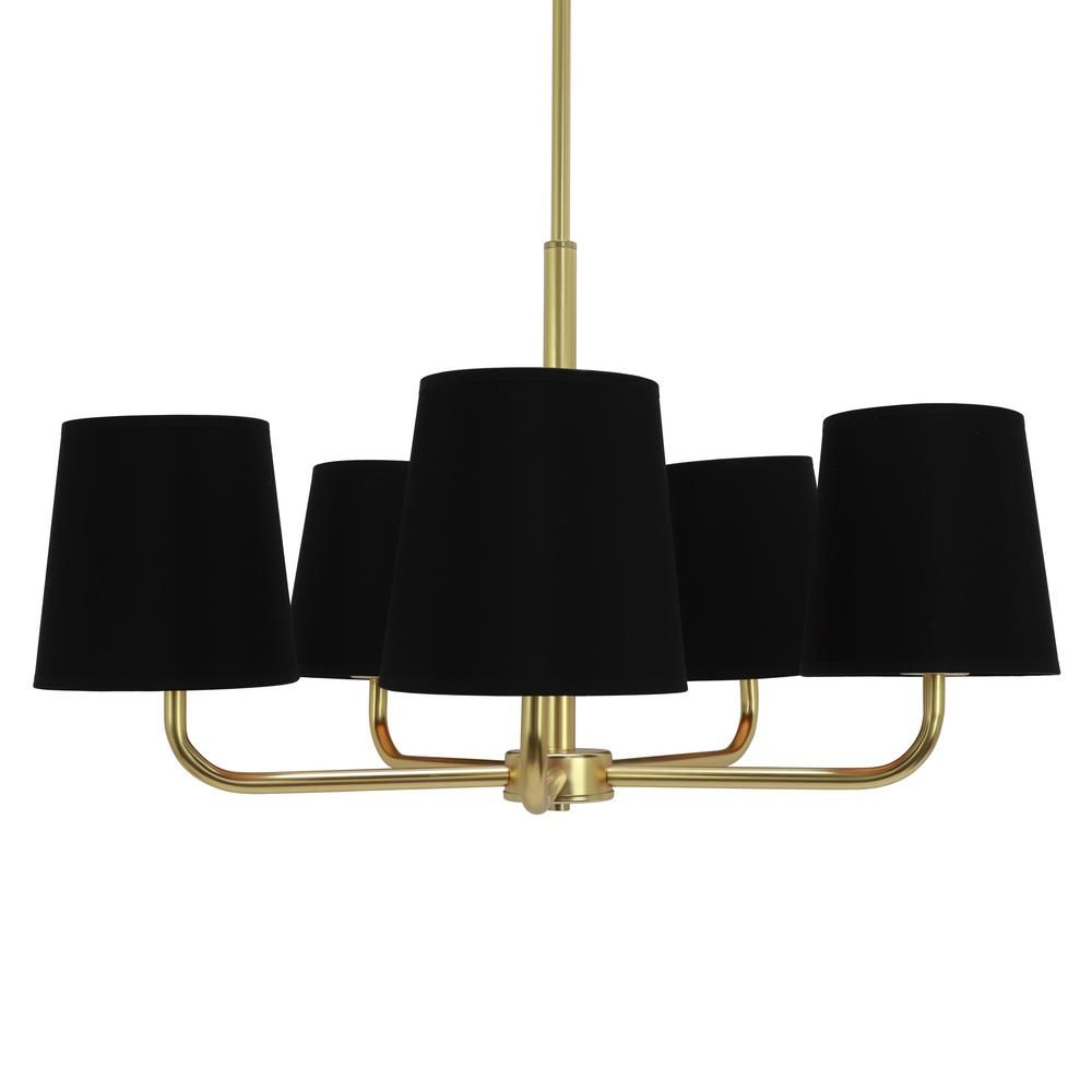 Decor Therapy Evelyn 5 Light Black And Gold Chandelier With Linen Shade Ch1830 The Home Depot Decor Therapy Gold Chandelier Traditional Chandelier