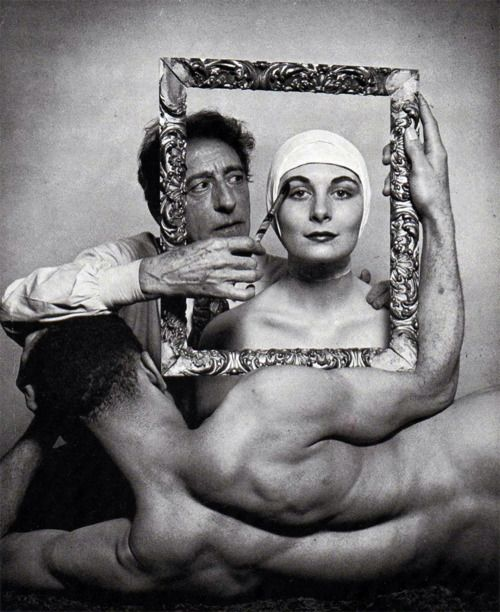 Philippe HalsmanPortrait of Jean Cocteau with Ricki Soma and Leo Coleman1947  Happy Birthday Jean Cocteau
