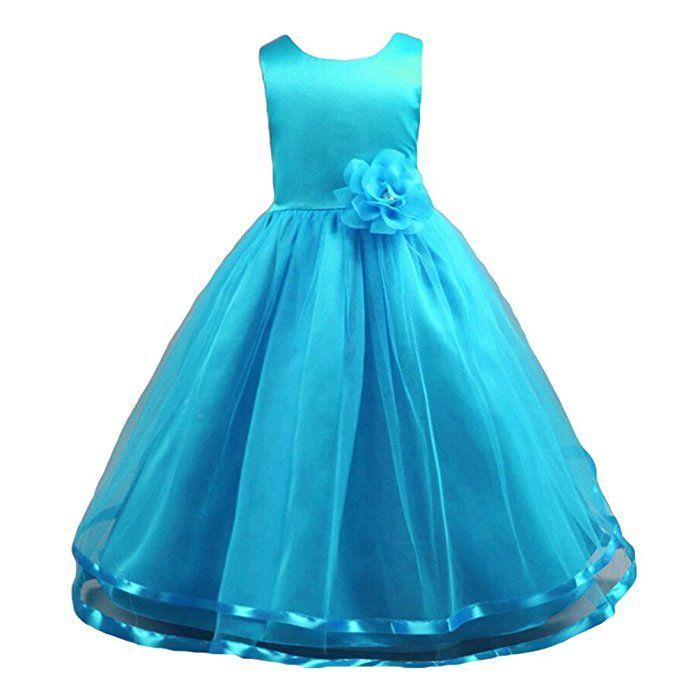 6c0ee3315c0a0 WanYang Filles Enfants Robe Tulle Mariage Cérémonie Robes De Princesse  Partie Robe Sans Manches Longue Robe