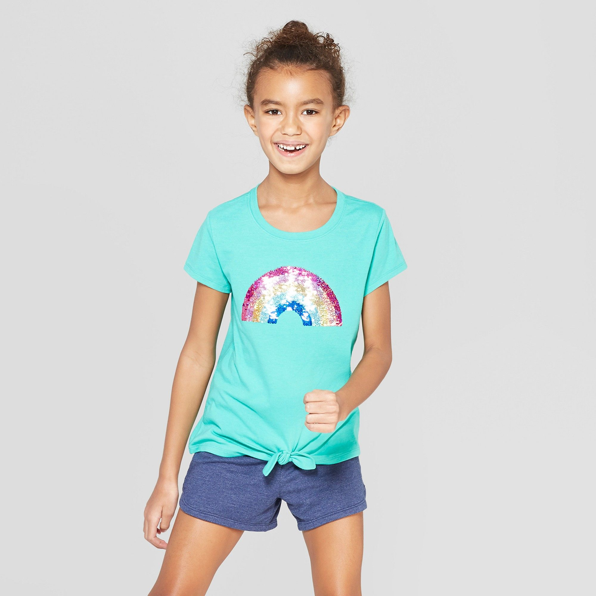 dad0f87a3a05 Girls' Short Sleeve Tie Front Rainbow Flip Sequins T-Shirt - Cat & Jack  Green XS