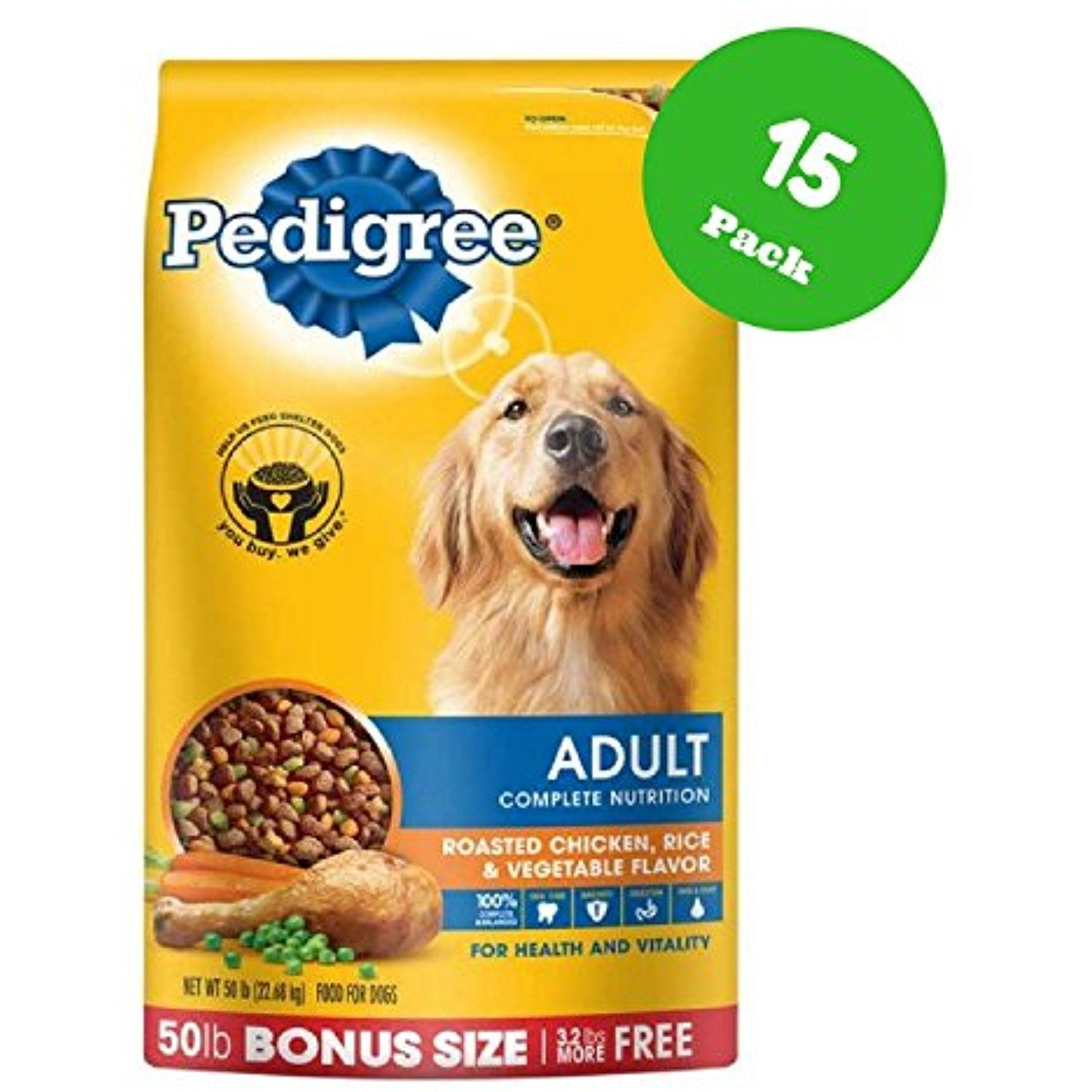 Pedigree Adult Chicken Flavor Dry Dog Food 50 Pounds Pack Of 15