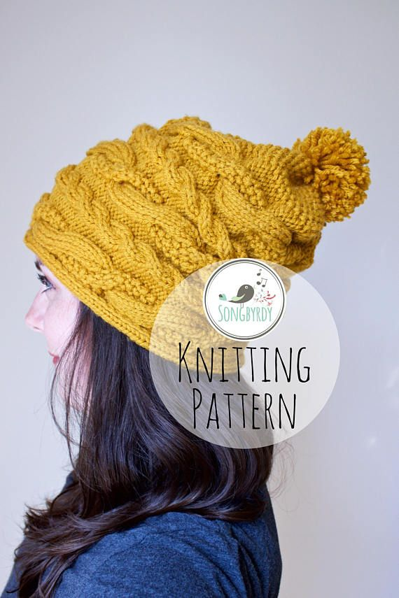 PDF PATTERN Cable Knit Slouchy Beanie Knitting Pattern | hats ...