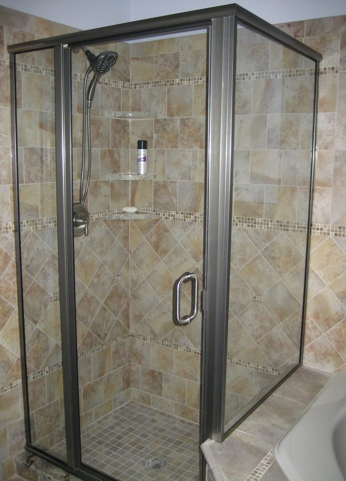Light Ton Marble Glass Tile Bathroom Shower Design With Stainless Steel  Frame Glass Partition. Likeable Shower Designs With Glass Tile For Bathroom  ...