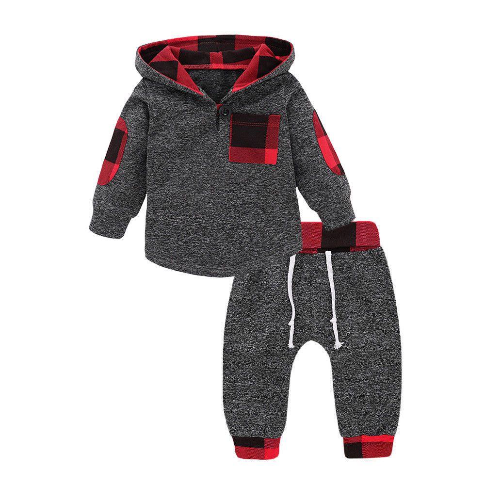 3fce67ba4 Baby Boy Girl Infant Clothes Autumn Winter Hooded Tops+Pants 2PCS ...
