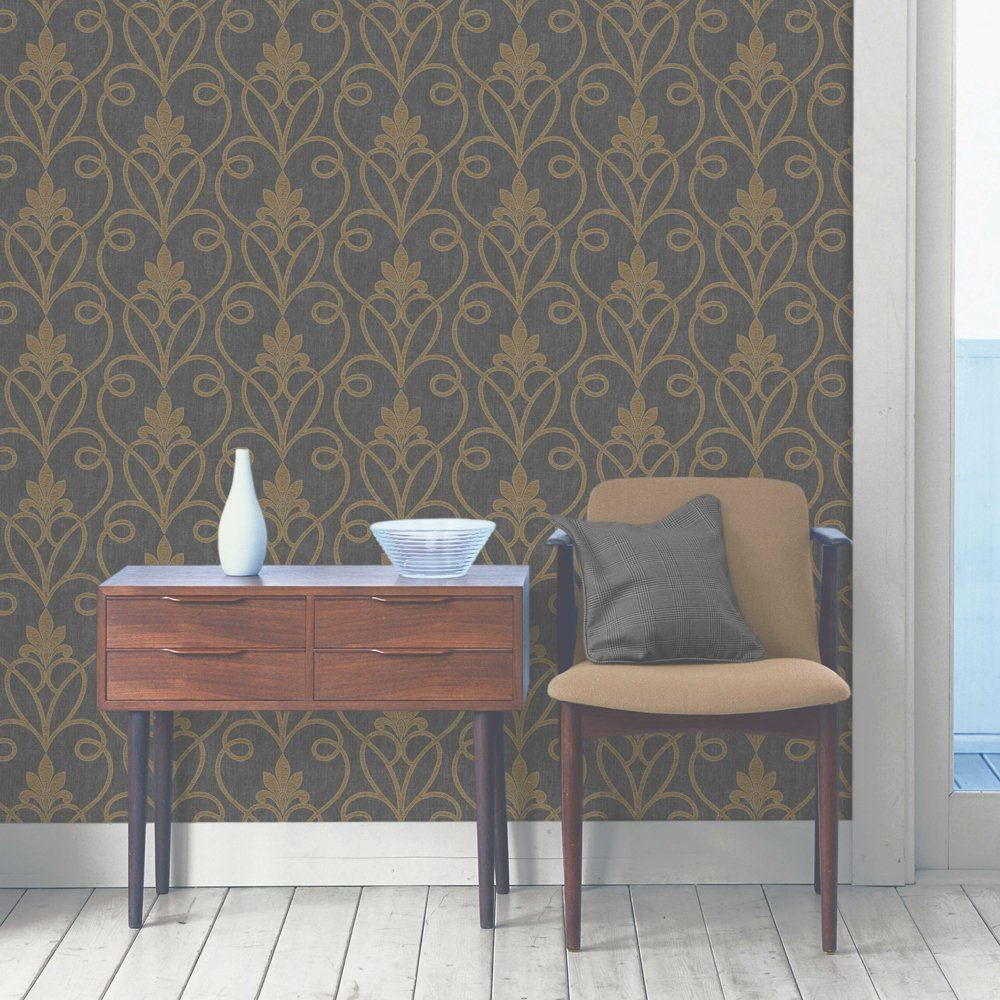 Tuscany Damask Wallpaper Black / Gold (FD40466) (With