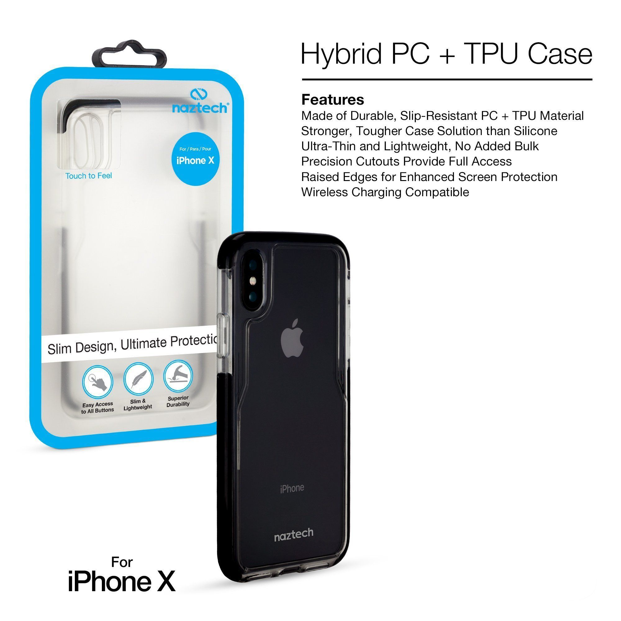 wholesale dealer f6e5a 85a85 Naztech Hybrid PC + TPU Case Edge Series -iPhone X  iphonex