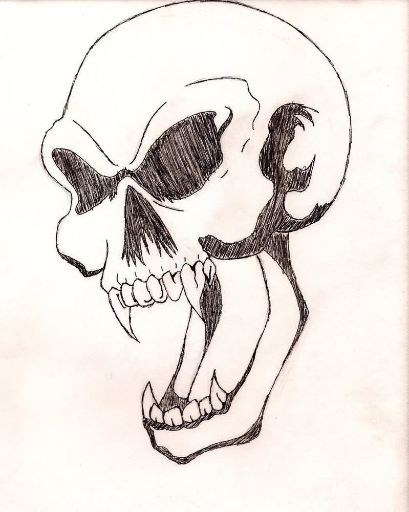 awesome vampire skull tattoo design | simple skull tattoos