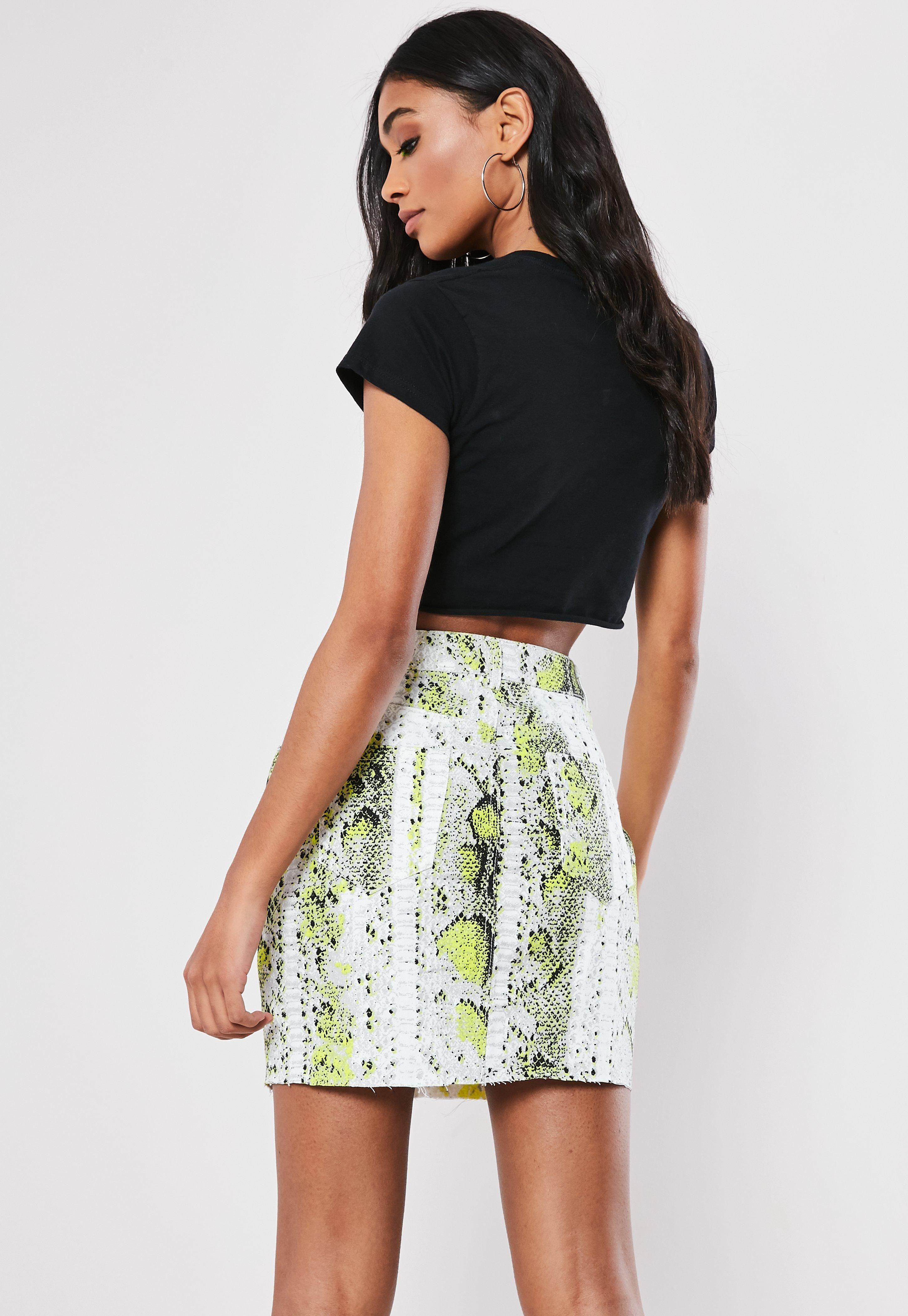 0170c71da974fe Neon Green Snake Print Co Ord Denim Mini Skirt #Sponsored #Snake, #affiliate