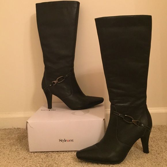 """Tall Knee High Leather Dress Boots An essential every girl needs in her closet! 18.5"""" from floor to top 3.75"""" heel Silver buckle detail at ankle Could probably accommodate a wide calf Gently loved, but have been freshly polished and weather-proof treated. Worthington Shoes Heeled Boots"""