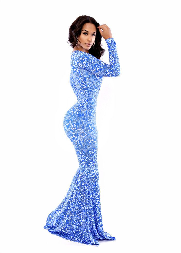 e2e12c6b58f6 Sexy Womens Long Sleeve Gown Prom Slim fit Mermaid Bandage Bodycon Maxi Cut  Out Blue Floral Printed Gowns Wedding Dresses