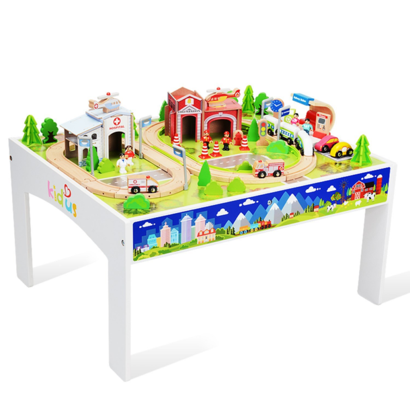 Wooka Wooden Train Set with Table 100 pcs Train and Track Table Toys for Toddler  sc 1 st  Pinterest & Wooka Wooden Train Set with Table 100 pcs Train and Track Table Toys ...
