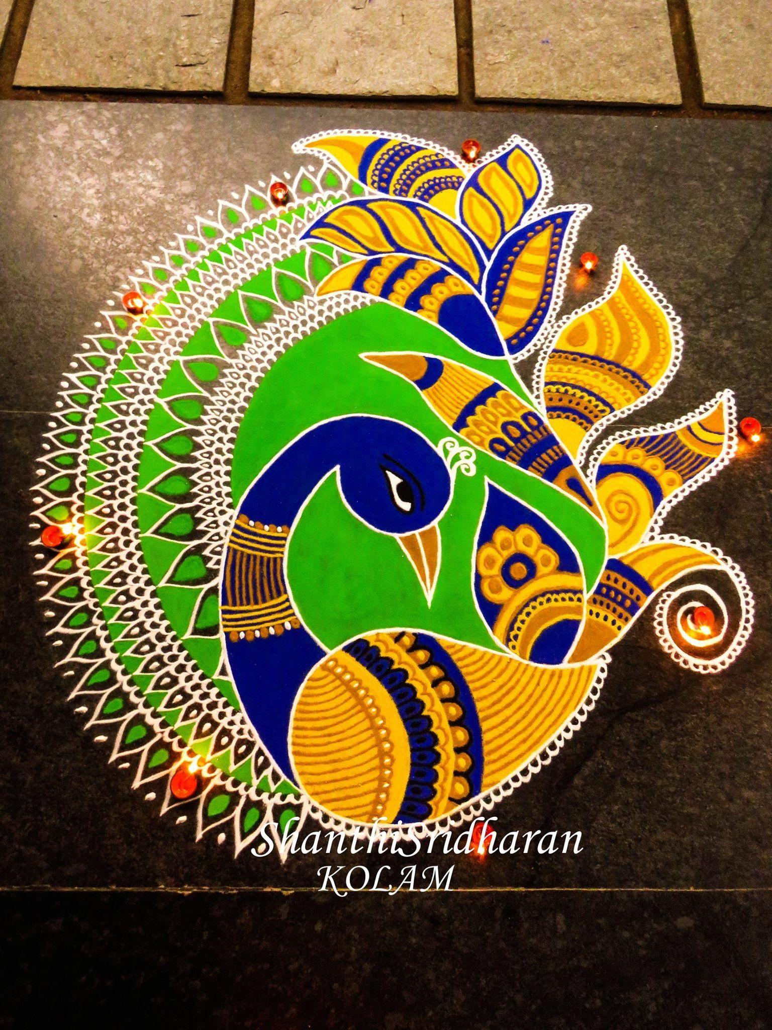 kolammandalapeacock Rangoli designs images, Bird
