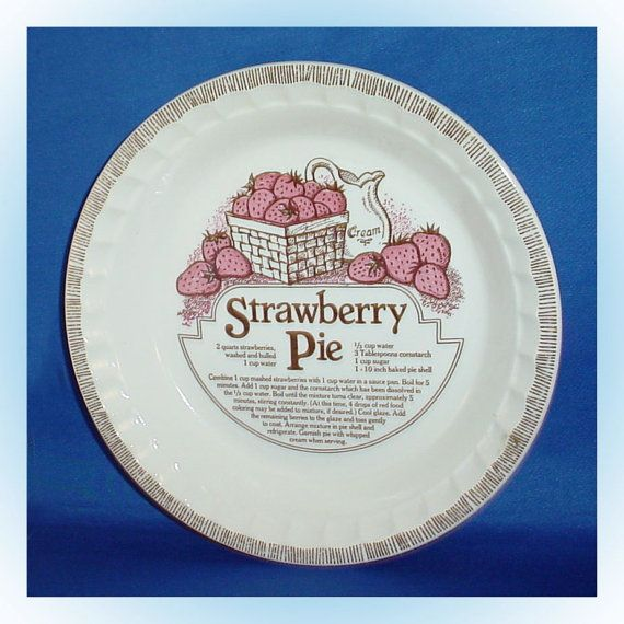 This vintage deep baking dish with fluted edges measures about 11 inches top diameter and about 1.75 inches deep.  The front features an old-time favorite strawberry pie recipe.  The back is marked Royal China by Jeannette Corporation.  For sale at Tennessee Antique Shack.  $18.00