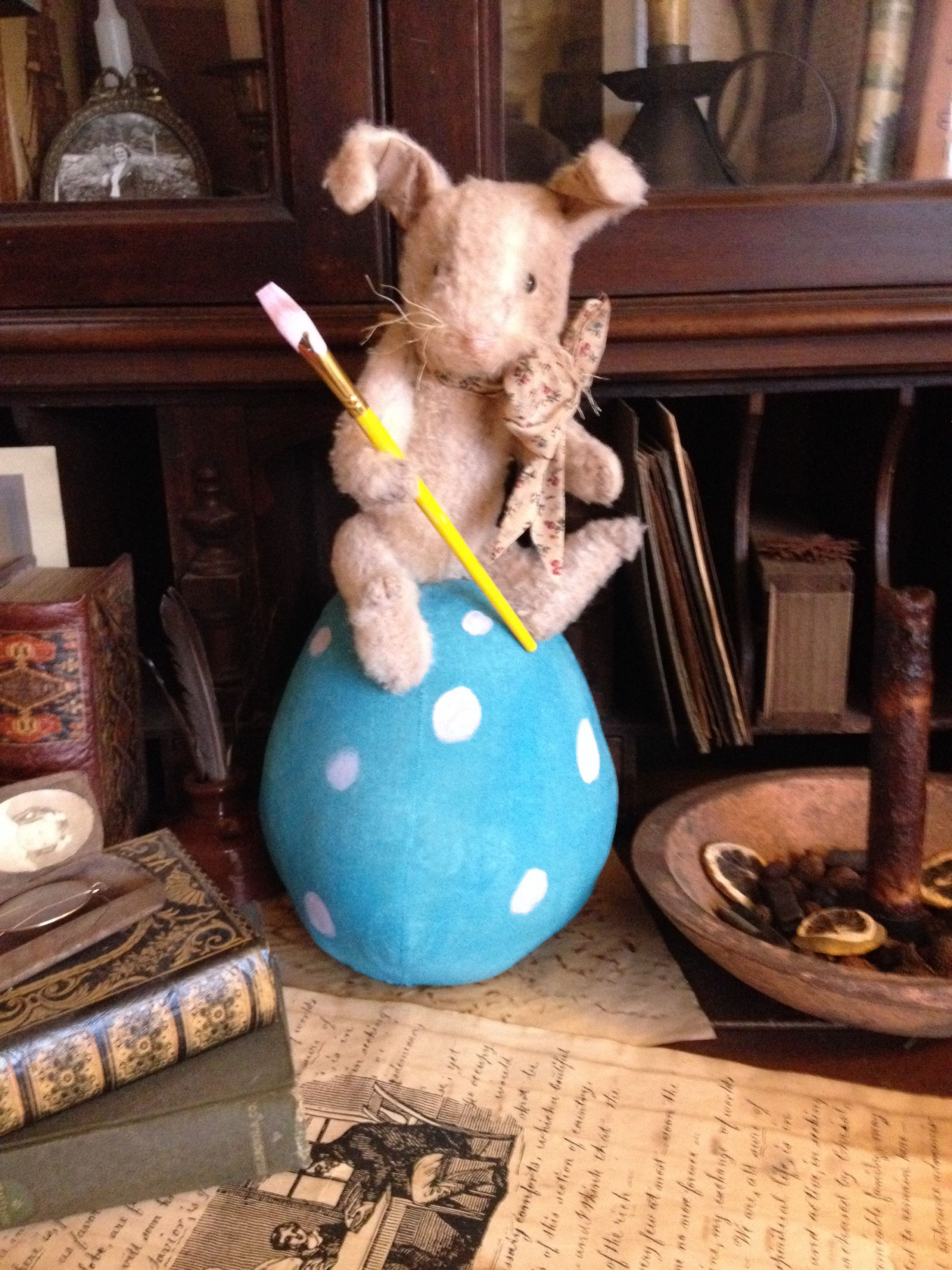 Prim bunny on top of Easter egg. Pattern by sweet meadows farm. Lovingly hand made by Olde Pear Primitives.