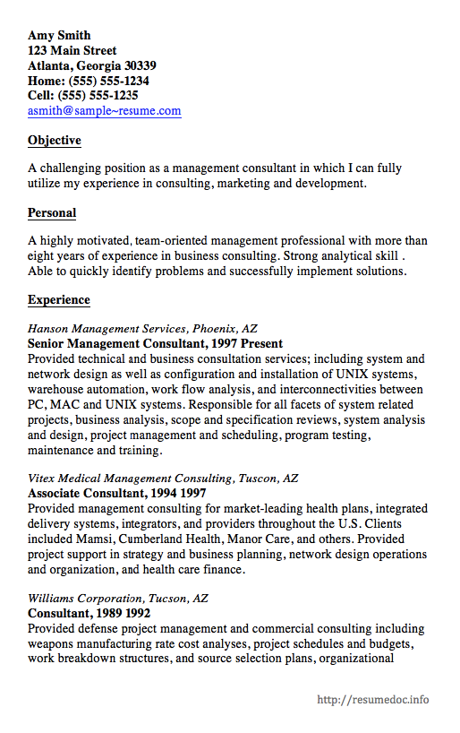 Here Is The Free Sample Of Management Consultant Resume You Can