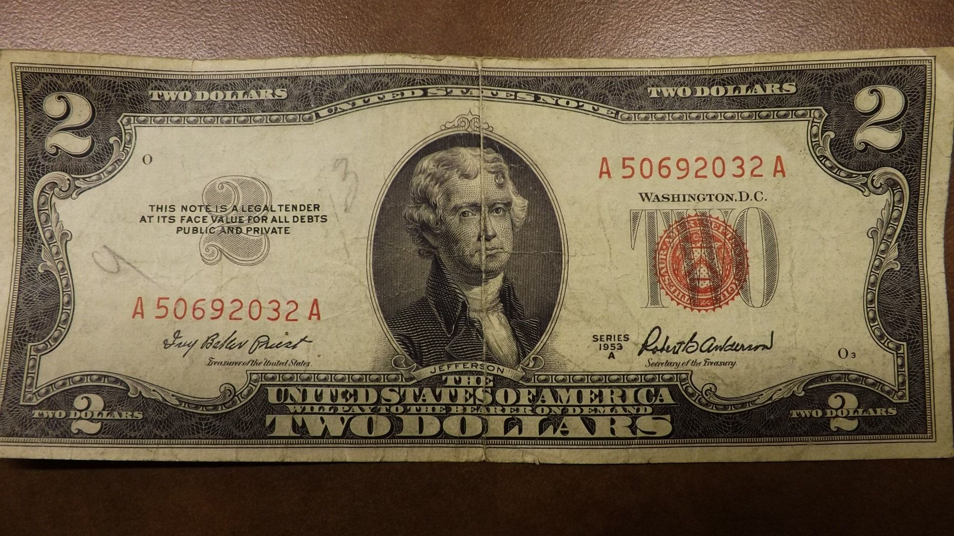 1953a 2 Bill Red Stamp Front All The Different 1953 Red Seal Two Dollar Bills Are Equally Common In Average Condition Any 1953 Red Print 2 Should Sell
