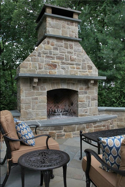Remarkable Bluestone Mantle And Caps On An Outdoor Fireplace Outdoor Home Remodeling Inspirations Basidirectenergyitoicom