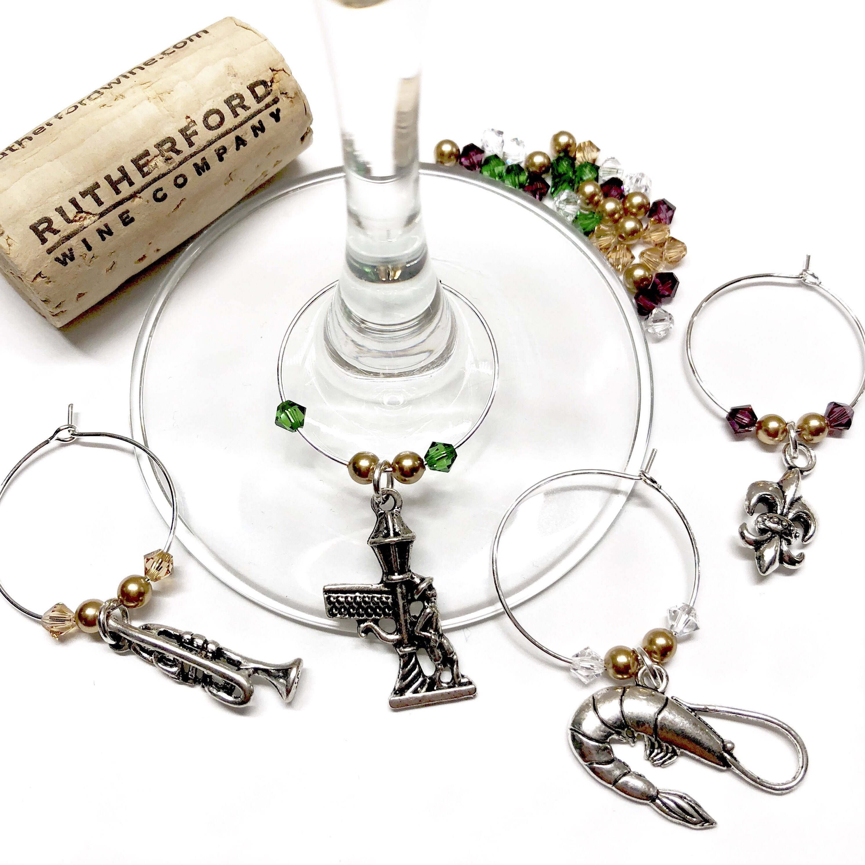 New Orleans themed wine charms, the perfect decor for a Mardi Gras ...
