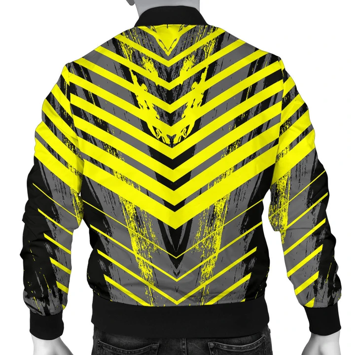 Racing Style Grey & Yellow Stripes Vibes Men's Bomber