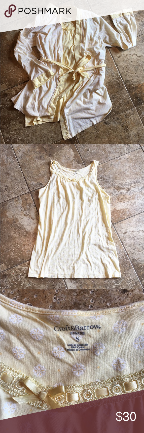 Women's light yellow chemise & robe set, Small Croft & Barrow brand, size small. Women's light yellow sleeveless chemise with dainty white floral pattern and lace trim. Coordinating robe is light yellow and white small stripes, yellow trim, tie waist and POCKETS! Both size small, could fit a medium. Very gently used, worn maybe three times. No flaws. EXCELLENT CONDITION! Croft & Barrow Intimates & Sleepwear Chemises & Slips