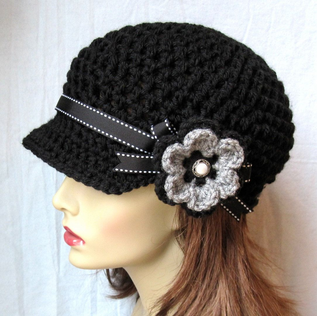 Crochet Newsboy, Woman Hat, Black, Ribbon, Flower, Gray, Pearl ...