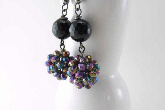 Black Crystal Dangle Earrings Great for Wedding or by theglassbird, $12.00