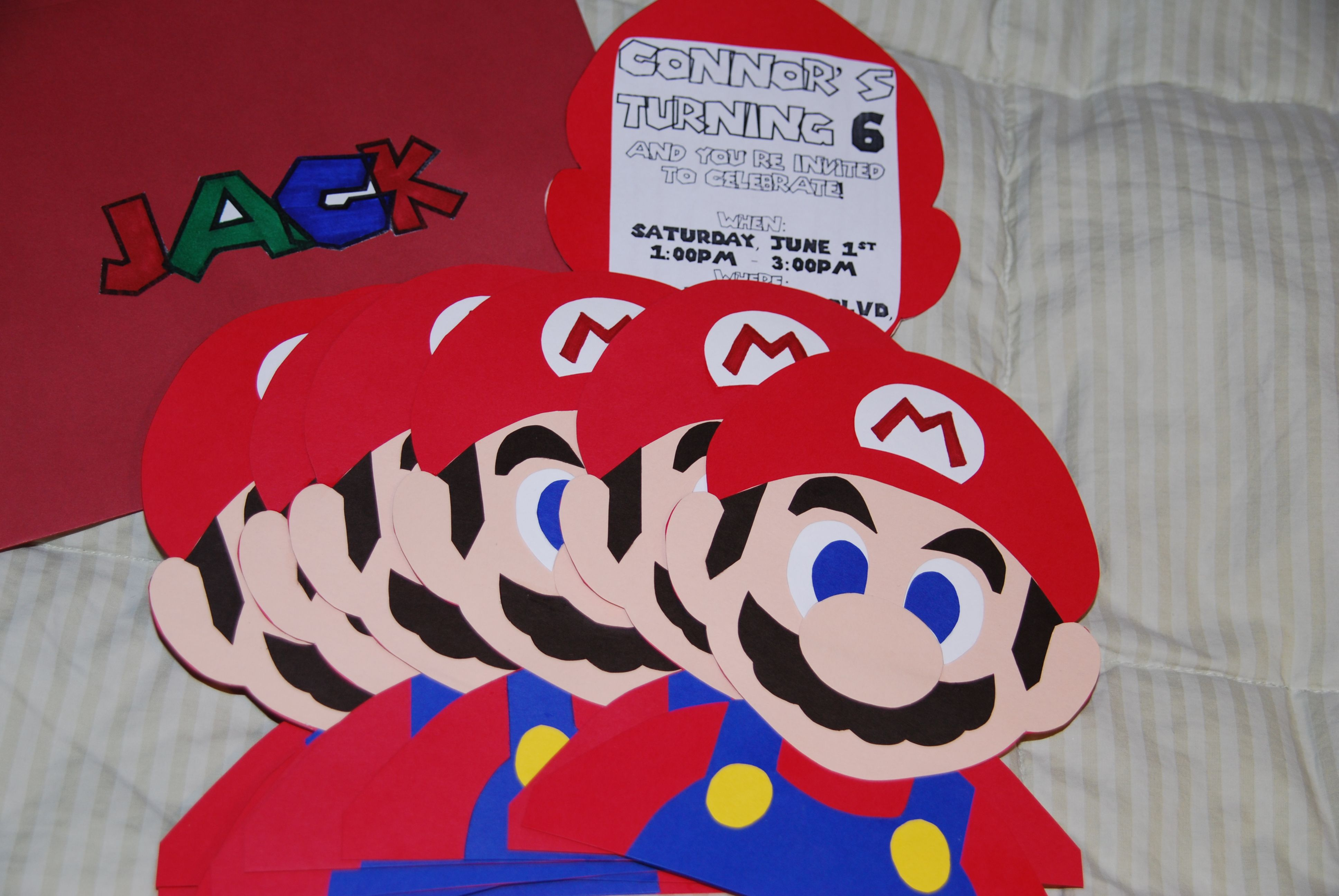 mario birthday party invites made with card stock. Black Bedroom Furniture Sets. Home Design Ideas