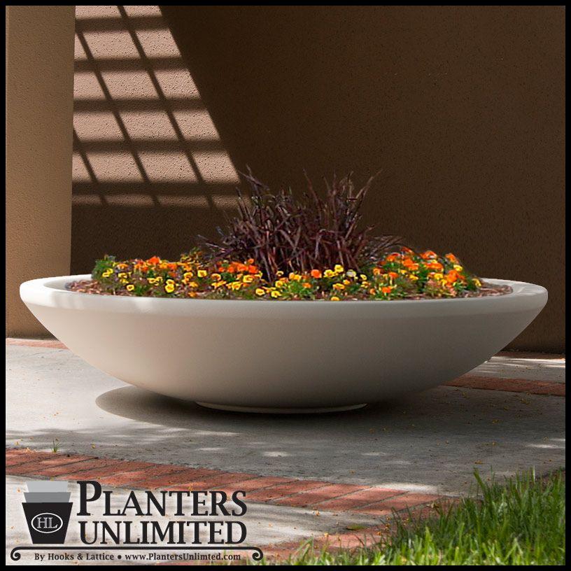 Low Profile Round Planter Pot Fiberglass Bowl Planters Unlimited Flower Pots Outdoor Planters Planters Around Pool
