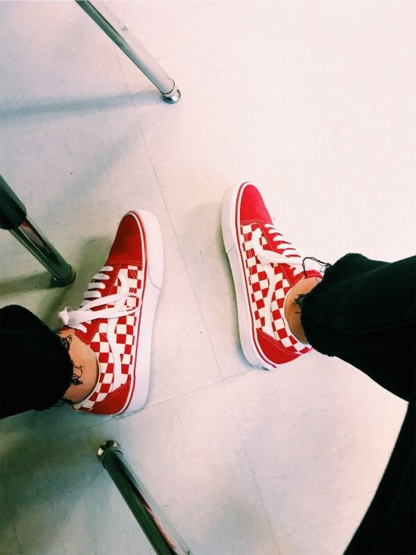 checkered red vans vsco off the wall