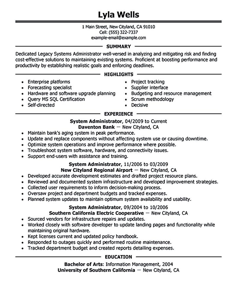 System administrator resume includes a snapshot of the skills both ...