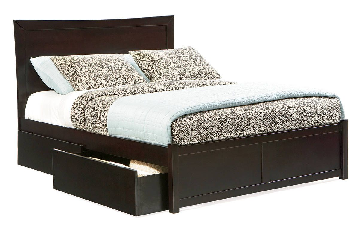 miami espresso solid wood queen storage bed wflat panel footboard - Solid Wood Queen Bed Frame