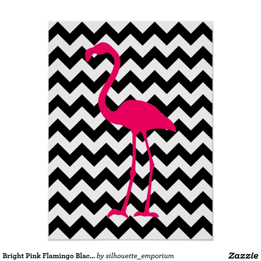 Ziguezague Preto E Branco Do Flamingo Cor De Rosa Poster Deco  ~ Imagens Para Quadros De Quarto Para Imprimir Abacaxi