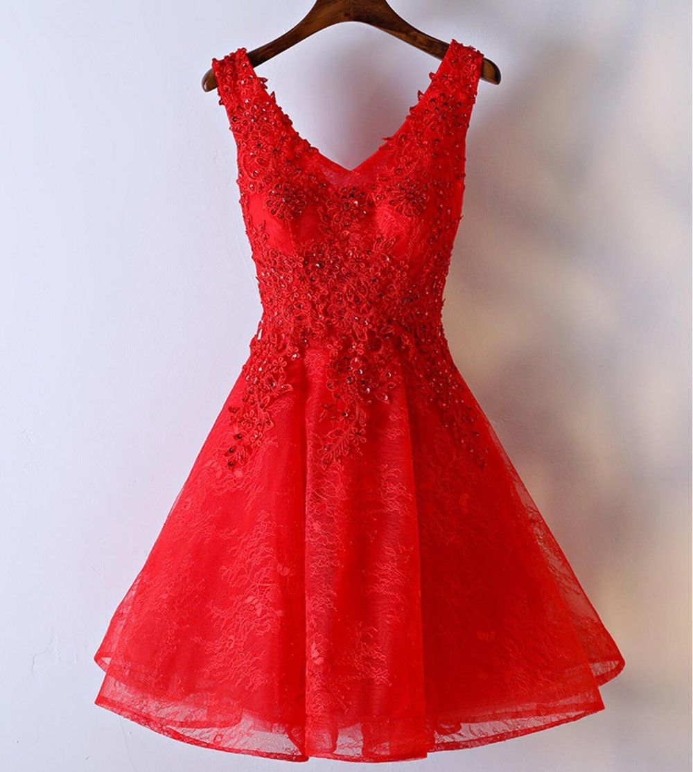 Red lace v neckline homecoming prom dresses affordable corset back
