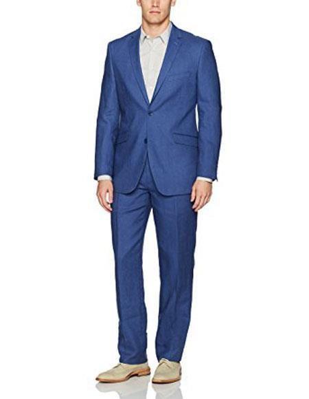 #MensUSA - #MensUSA Men's Two Buttons Single Breasted 1 Linen Indigo ~ Cobalt Blue Modern Fit Suit Flat Front Pant - AdoreWe.com
