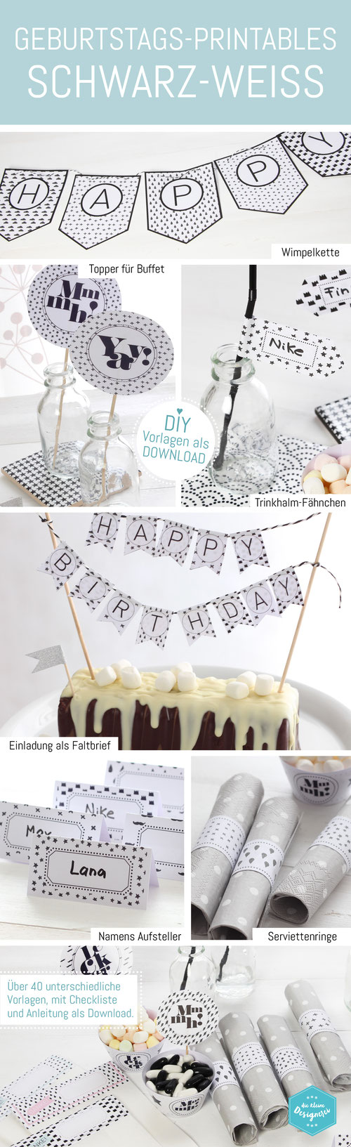 diy party printable in schwarz weiss diy geburtstagsparty pinterest geburtstag. Black Bedroom Furniture Sets. Home Design Ideas