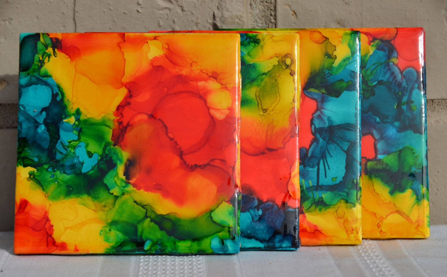 Alcohol ink ceramic coasters in stock by