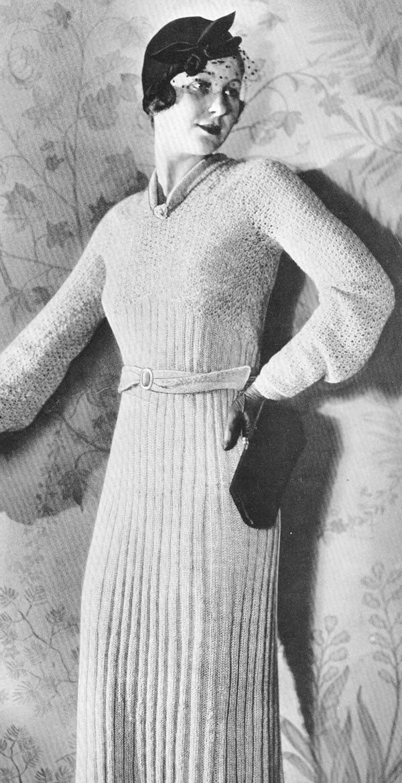 Vintage 1930s Town Frock Sweater Dress Knitting Pattern PDF 3214 ...