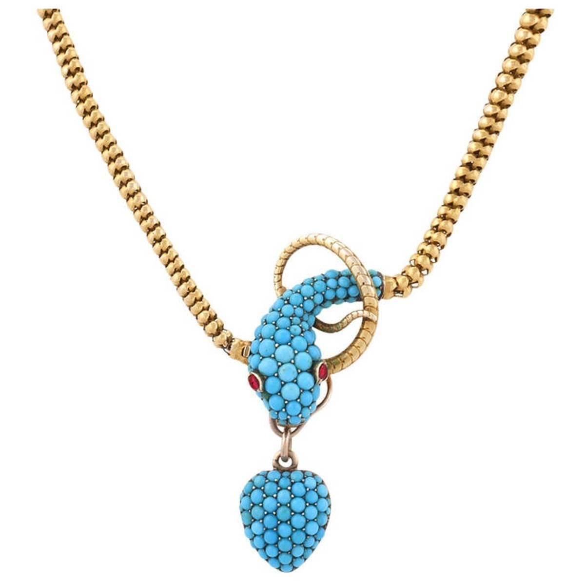 Tessier london antique turquoise ruby gold snake necklace http