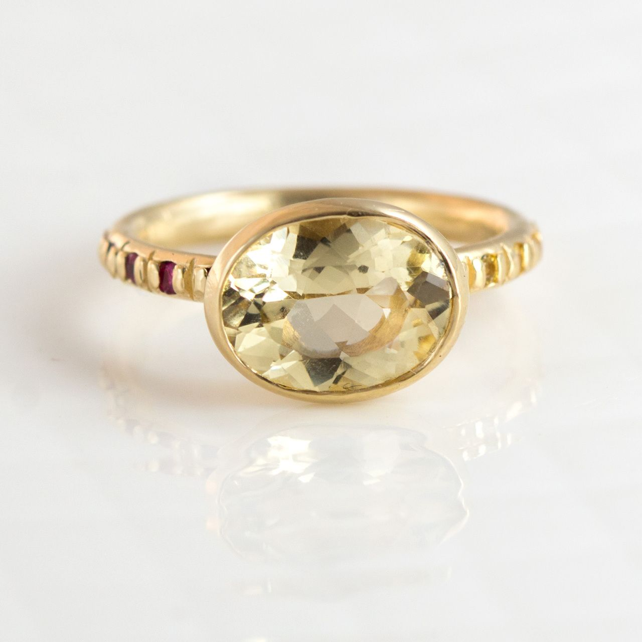 Yellow Beryl Oval Cocktail Ring in 14k Gold by Melanie Casey Jewelry