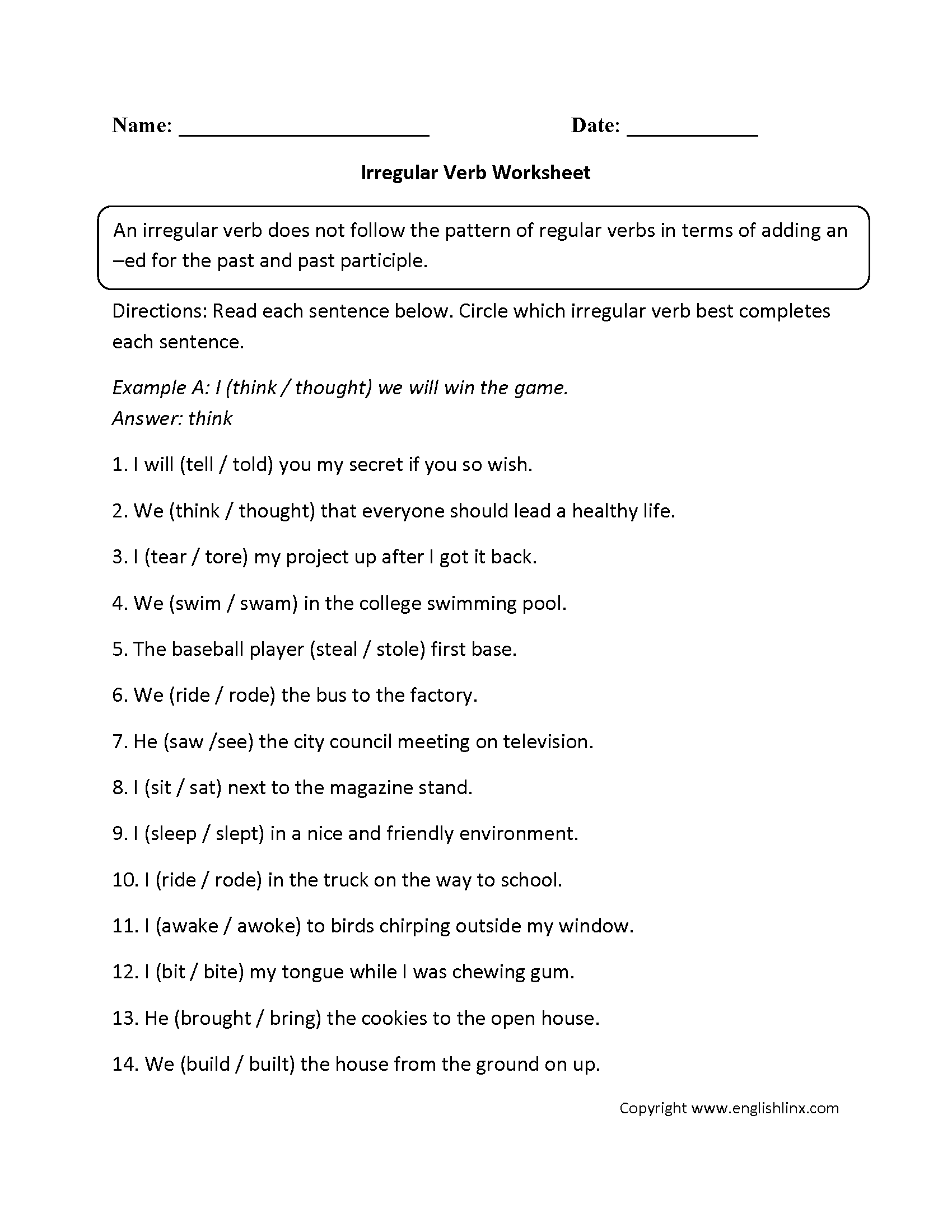 Irregular Verb Worksheet