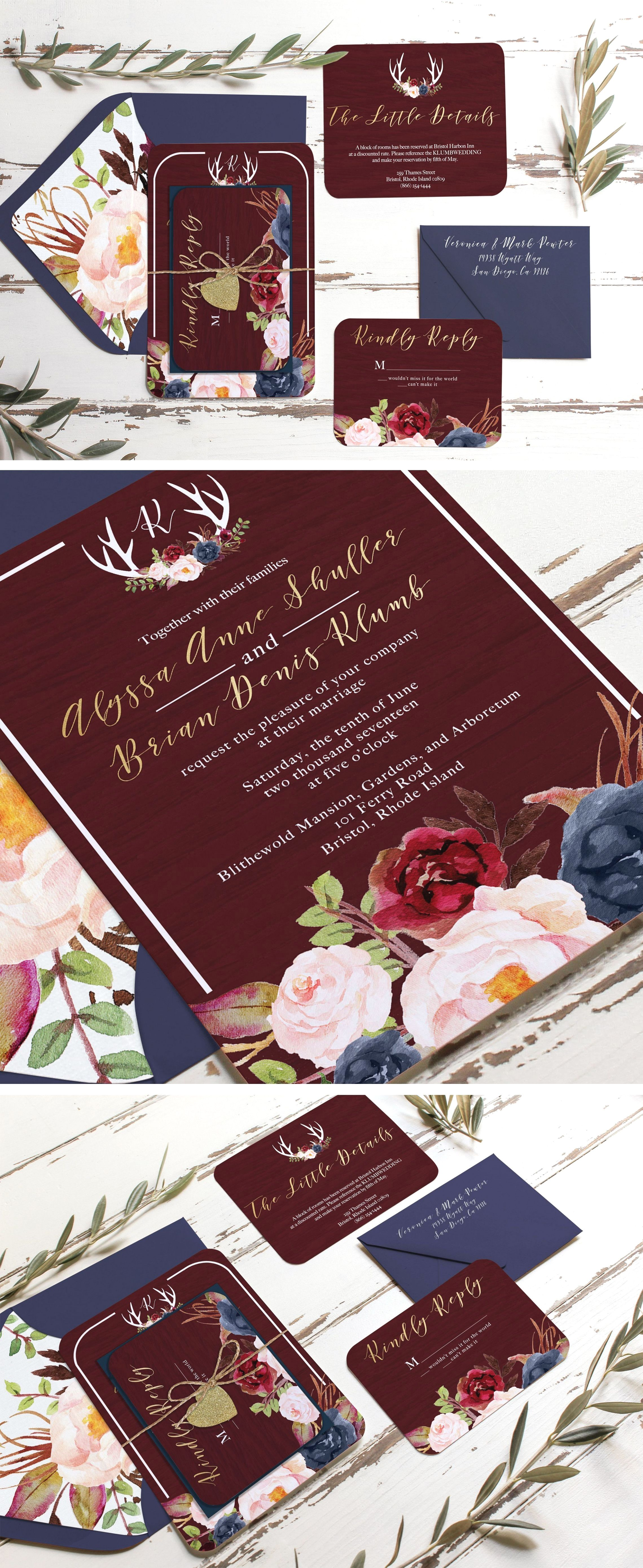 Rustic Wedding Ceremony Burgundy And Navy Marsala Burgundy Gold And Navy Rustic In 2020 Fun Wedding Invitations Wedding Invitations Rustic Blush Wedding Invitations
